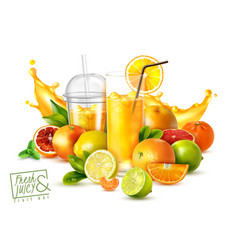 fruit juice realistic poster vector image