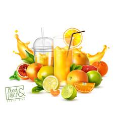 Fruit juice realistic poster vector