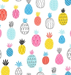 Fun pineapples pattern vector