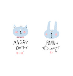 funny bunny and angry dog logotypes vector image