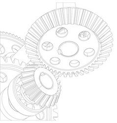 gears with bearings and shafts close-up vector image