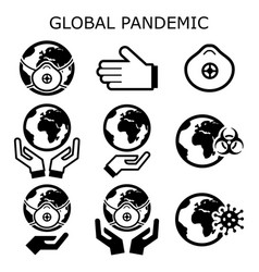 global pandemic icons set protecting vector image