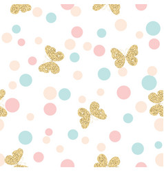 Gold glittering butterflies seamless pattern on vector