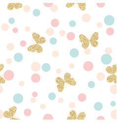 Gold glittering butterflies seamless pattern vector