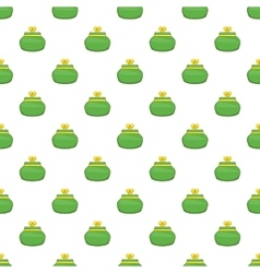 Green retro purse pattern cartoon style vector
