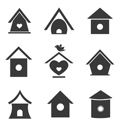 group bird houses vector image