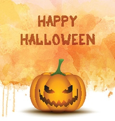 Halloween pumpkin on watercolor background vector