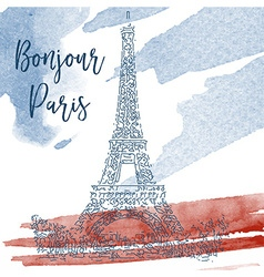 Hand drawn ink line sketch of Paris Watercolor vector image