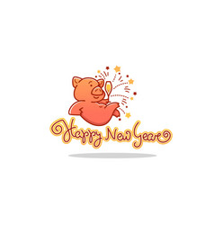 happy pig chinese new year symbol image vector image