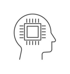 head of cyborg icon ai concept vector image