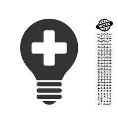 Healh care bulb icon with work bonus vector