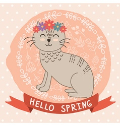 Hello spring card with a cute cat vector image