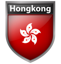 Hong kong flag on badge vector