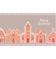horizontal background with traditional gingerbread vector image
