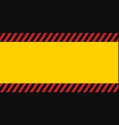 Horizontal warning banner frame red yellow black vector