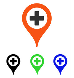 Hospital map pointer flat icon vector
