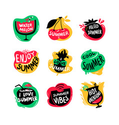 Icons set with hello summer watermelon and hot vector