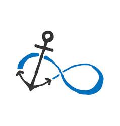 Infinity anchor symbol of sailors vector