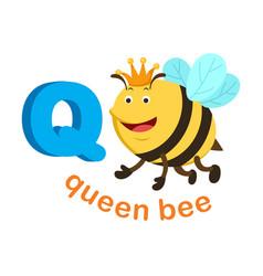 Isolated alphabet letter q queen bee vector