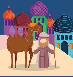 joseph with camel in village manger nativity vector image