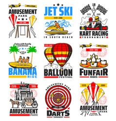 kart racing darts and banana rides amusement park vector image