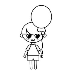 line cute boy with balloon and hairstyle design vector image