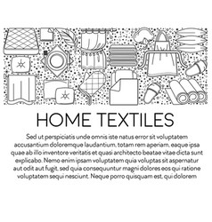 linen and towels home textiles line icons emblems vector image