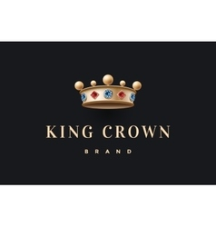 Logo with gold king crown and inscription King vector image