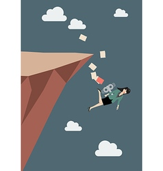 Mechanical business woman fall into the abyss vector image