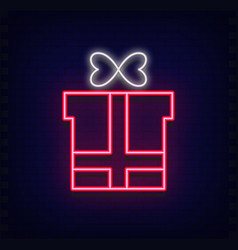 neon gift box vector image