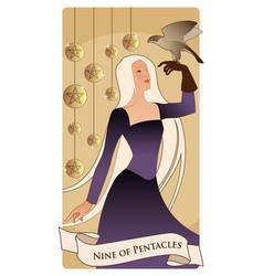 Nine pentacles tarot cards beautiful girl vector