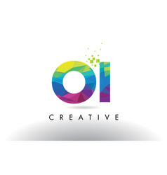 oi o i colorful letter origami triangles design vector image