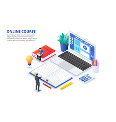 online education concept with characters can use vector image