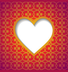 patterned background with a cut heart vector image