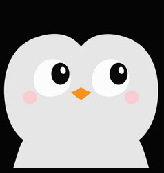 Penguin bird square head face icon big eyes beak vector
