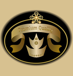 Premium quality label in golden design with royal vector