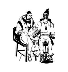 professional tattoo master at work tattooist vector image