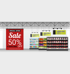 Promotion sign in modern supermarket background vector