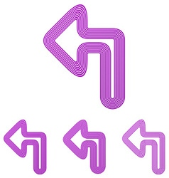 Purple line turn left logo design set vector