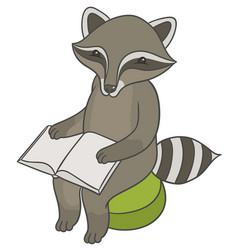 Raccoon sitting on stool ottoman and reading book vector