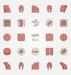 Red fish colorful icons salmon or trout vector