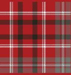 Red pixel plaid seamless pattern vector