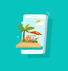 resort scene on mobile phone screen vector image
