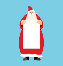 santa claus and blank sheet template isolated vector image