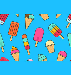seamless pattern with colorful different ice cream vector image