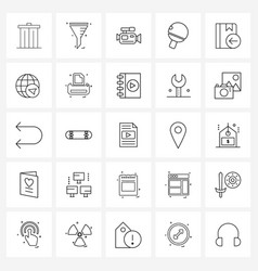 set 25 line icon signs and symbols book vector image