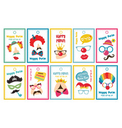 set gift tags with purim costumes props vector image