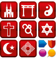 Set religion icons on square buttons geometric vector