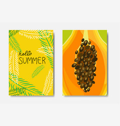 set summer palm exotic badge isolated typographic vector image