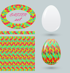 set with painted easter eggs and design details vector image